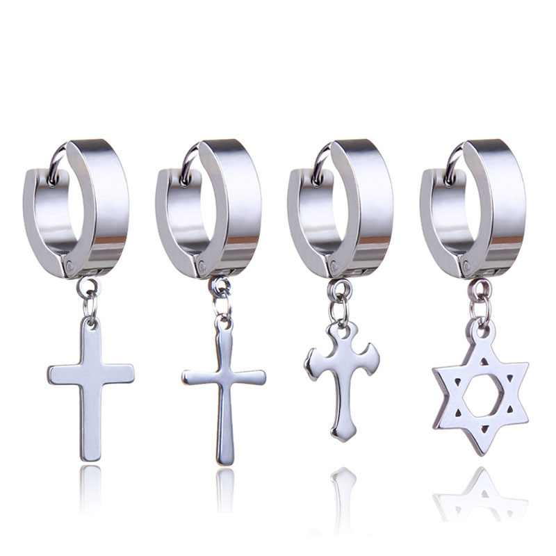 1 Piece Men Cross Stars Pendant Punk Round Cartilage Stainless Steel Earring For Men Piercing Stud Earrings For Women 5