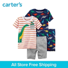 Carter's 4-Piece baby children kids clothing Boy Summer Dinosaur Snug Fit Cotton Pajamas 13605110