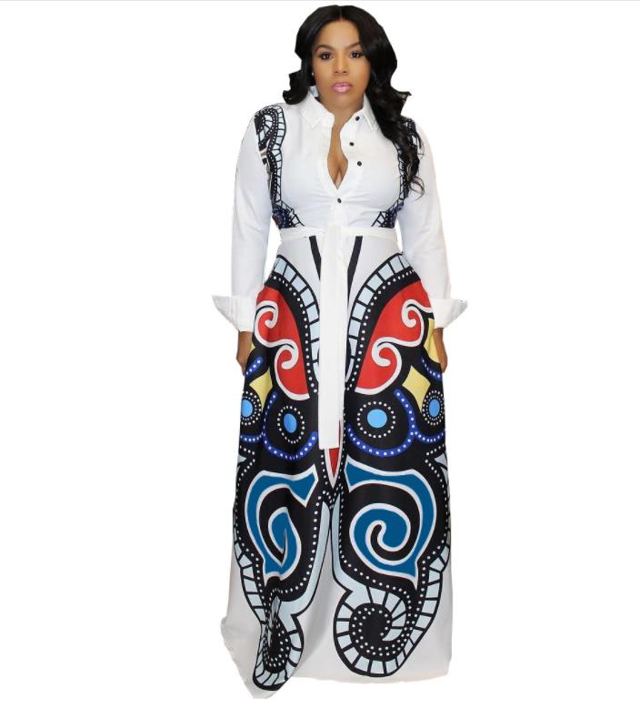 2019 Sale African Dress Autumn And Winter Digital Printing, T-shirt, Slim Sleeved Dress, New, Fashion, African, Women, Clothing