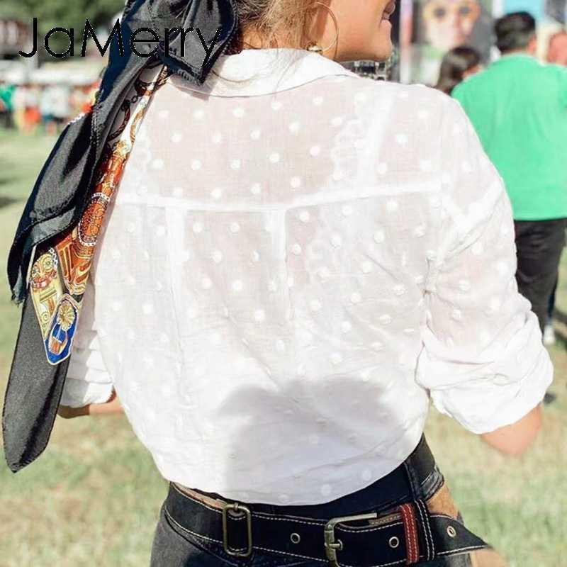 JaMerry Vintage casual beach style solid white women blouse shirt Long sleeve female top shirt Summer streetwear ladies shirt