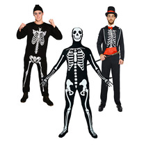 QLQ Men's Halloween Ghost Cosplay Horror Skull Frame Show Party Skeleton Zombie