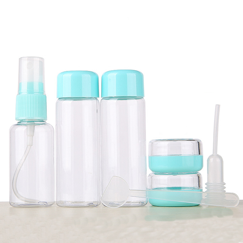 7pc/Set Mini Travel Makeup Cosmetic Face Cream Pot Bottles Plastic Transparent Empty Make Up Container Bottle Travel Accessories