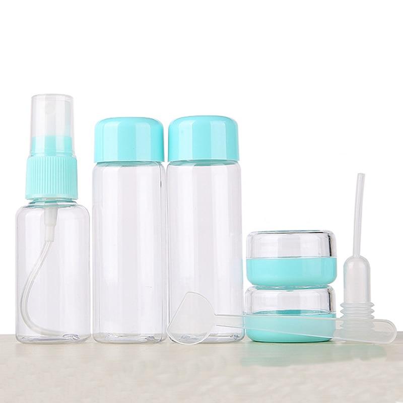 7pc/Set Mini Travel Makeup Cosmetic Face Cream Pot Bottles Plastic Transparent Empty Make Up Container Bottle Travel Accessories