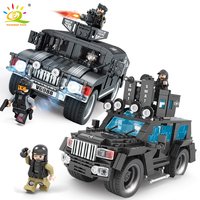 HUIQIBAO TOYS Military Truck Jeep SWAT Commando Figure Building Blocks For Children Compatible Legoed City Police World Wars Car