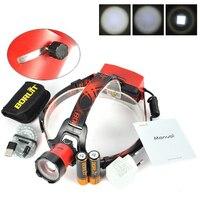 BORUIT B13 1хкри XM-L2 1200 люмен 3-режим USB светодиодный налобный фонарь + 2x18650 + 1 xCharger + кабель 1xusb + 1 xHolster