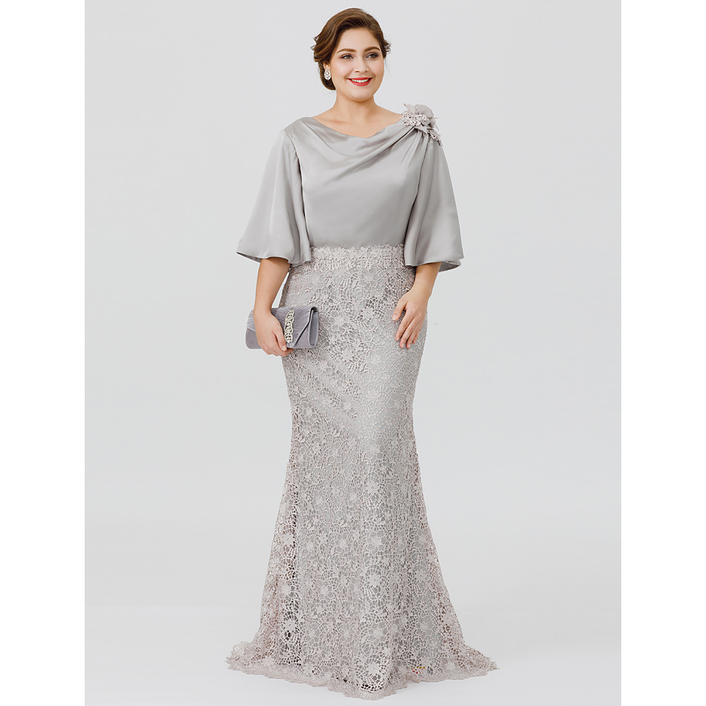 Cowl Neck Satin Wedding Dresses: Silver Gray Mother Of The Bride Groom Dresses Mermaid Lace