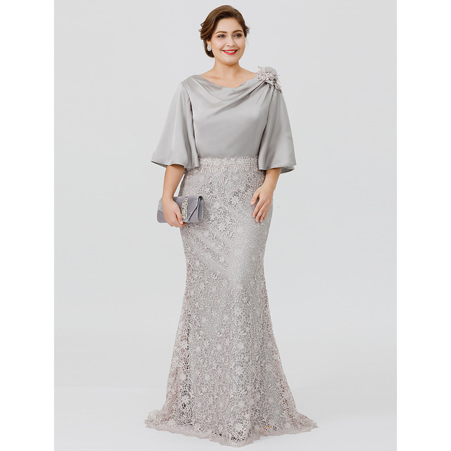 Silver Gray Mother of the Bride Groom Dresses Mermaid Lace Satin Top Cowl Neckline Half Sleeves Formal Wedding Guest Gown