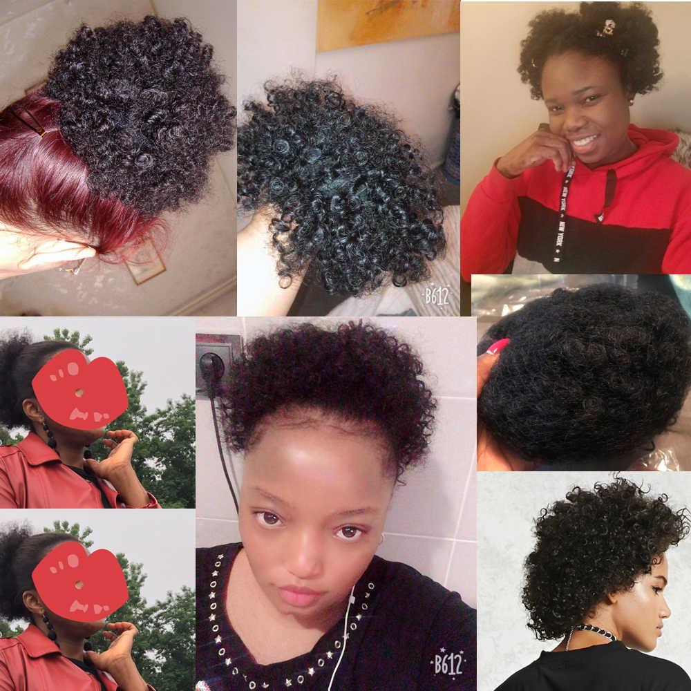 Cola de Caballo rizada Afro Puff 100% pelo humano cordón coleta con Clps para mujeres pelo brasileño no Remy Ms Love