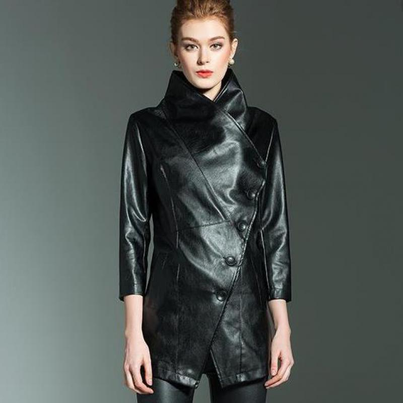 Women's Long Section Collar   Leather   Jacket   Leather   Windbreaker Ladies High End Office Jacket Autumn And Winter Coat 2019