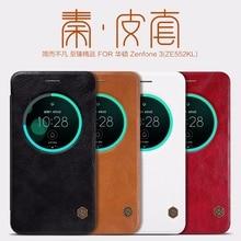 Оригинальный Nillkin Qin Series натуральная кожа умного окна флип чехол для телефона Asus Zenfone 3 ZE552KL 5.5 дюйма сумка кожа