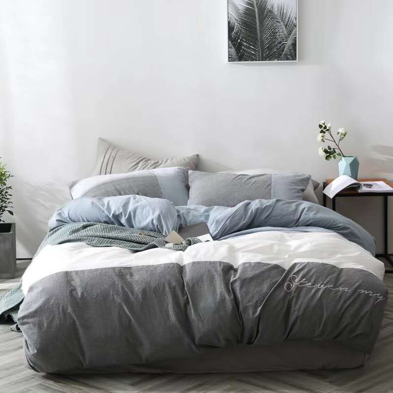 embroidered Yarn Dyed 100% Washed Cotton Duvet Cover Bedding Set soft linen sheet bed set white pink japan style bed coverembroidered Yarn Dyed 100% Washed Cotton Duvet Cover Bedding Set soft linen sheet bed set white pink japan style bed cover