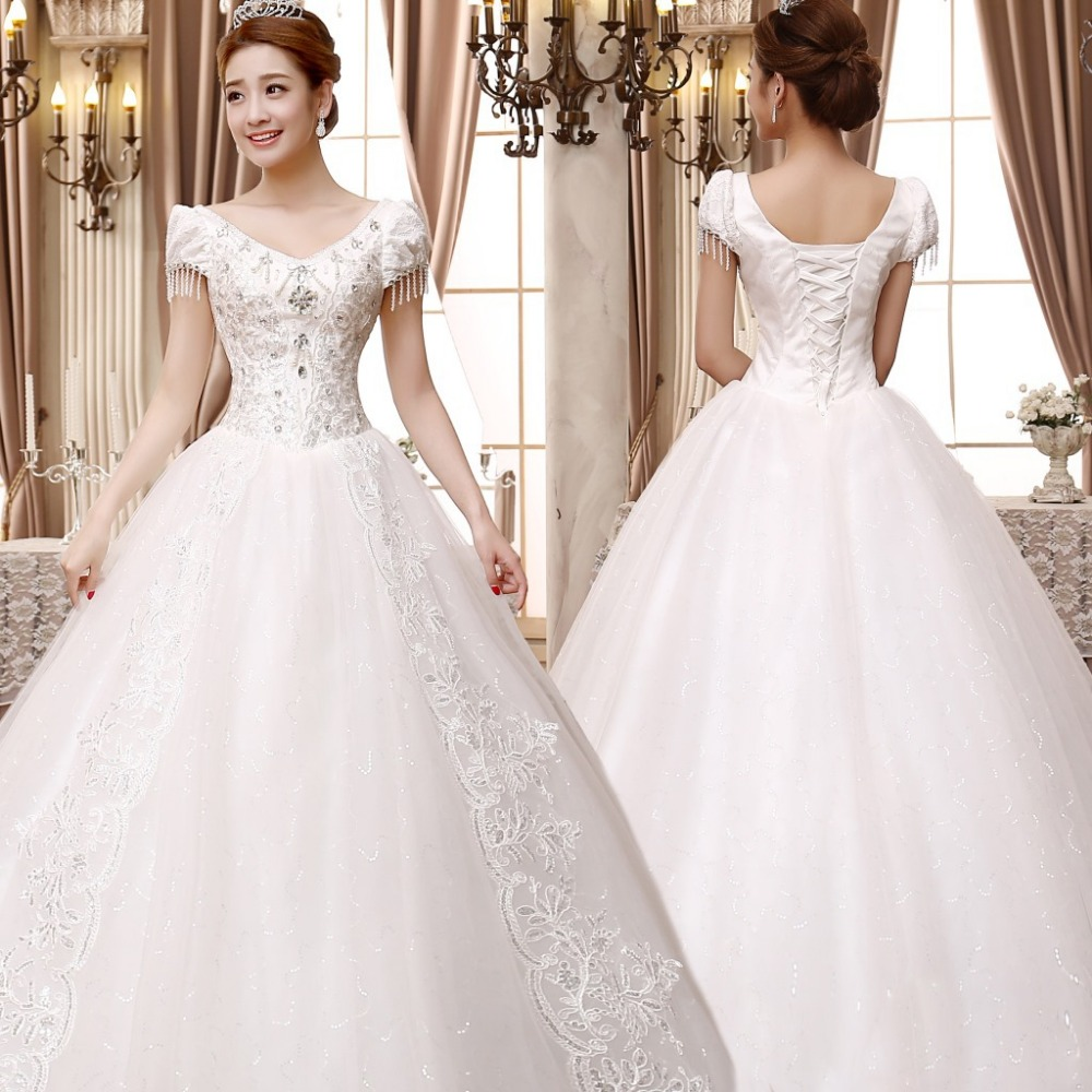 White A Line Wedding Dress 2018 Luxury Sequin Pearl Bead plus size vestido  de noiva Lace Princess bride V Neck Free shipping-in Wedding Dresses from  ... bd76725c9f7d