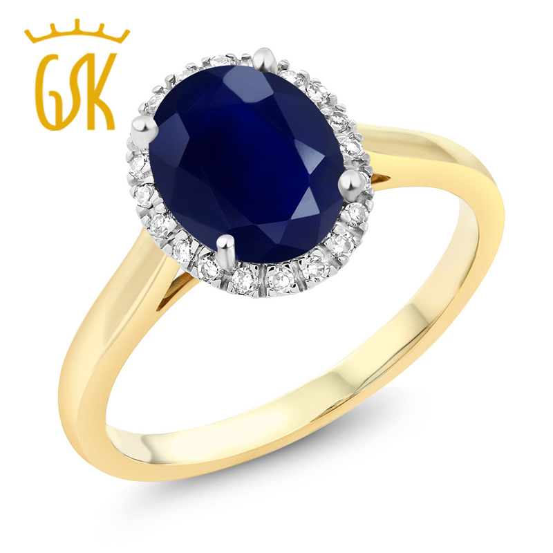 10K Two-Tone Gold Oval Blue Sapphire and Diamond Halo Engagement Ring 2.50 Ct (Available 5,6,7,8,9)