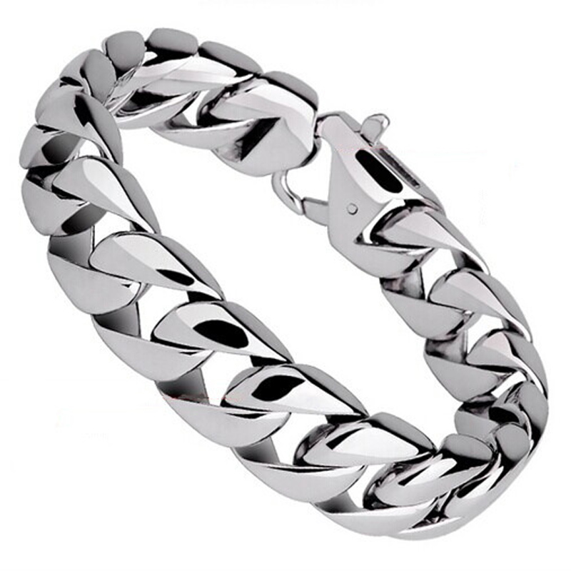 Fashion Real Titanium Men Bracelets Punk Bangle Pulseras High Polished Wristbands Classic Jewelry Brace Lace Silver
