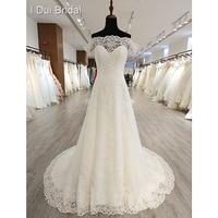 Off Shoulder A line Wedding Dress Button Back Lace Appliques See Through Neckline Bridal Gown