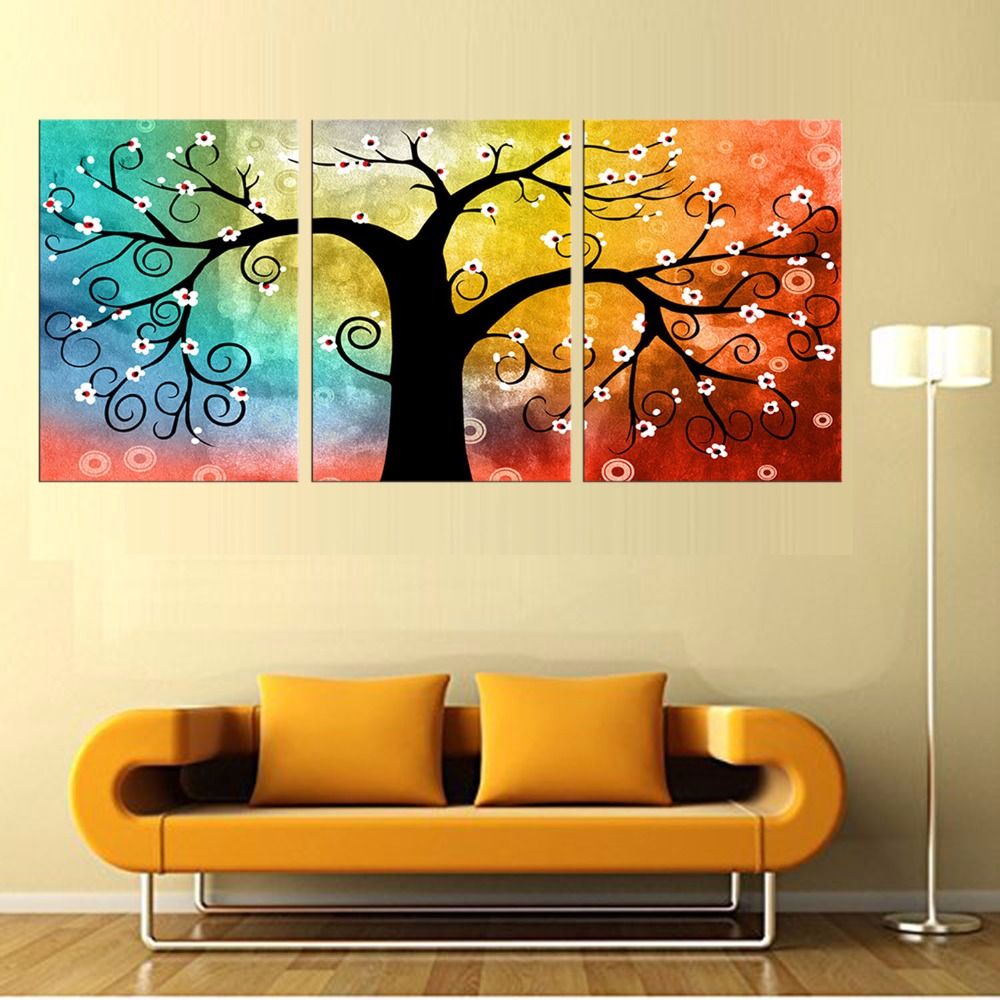 3 Piece Canvas Art Printing Abstract Rich tree Painting Custom ...