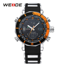 WEIDE Hot Sale Sport Chronograph Stopwatch Back Light Repeater Auto Date Alarm Analog Quartz Digital Silicone Strap Wristwatch weide stainless steel band luxury watch men sport back light analog digital quartz double movement auto date alarm stopwatch
