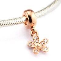 Phù hợp Cho Pandora Lắc Dazzling Daisy Charms với Hoa Hồng Màu Vàng 100% 925 Sterling Silver-Bạc-Hạt Trang Sức Miễn Phí vận chuyển
