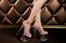 2016 kostenloser versand sexy frauen 19 cm ferse sandalen, transparent frauen knöchelverpackung schuhe, größe eu35-39