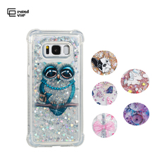 Luxury Quicksand Bling Case For Samsung Galaxy A3 A5 A7 J3 J5 J7 S7 edge S8 plus note 8 For OWL Dynamic liquid Crystal Clear liquid crystal case