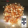 Controle remoto pode ser escurecido 66ft lanternas 200LED fio de cobre de cordas ultra fino branco quente fada luz decoração para o Natal de casamento
