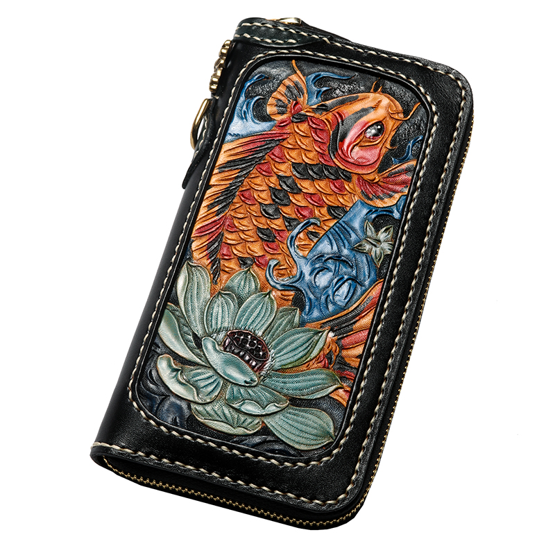 Men Genuine Leather Wallets Carving Copper Lotus Coin Carp Zipper Bag Purses Women Long Clutch Vegetable Tanned Leather Wallet handmade genuine leather wallets carving chameleon bag purses women men long clutch vegetable tanned leather wallet card holder