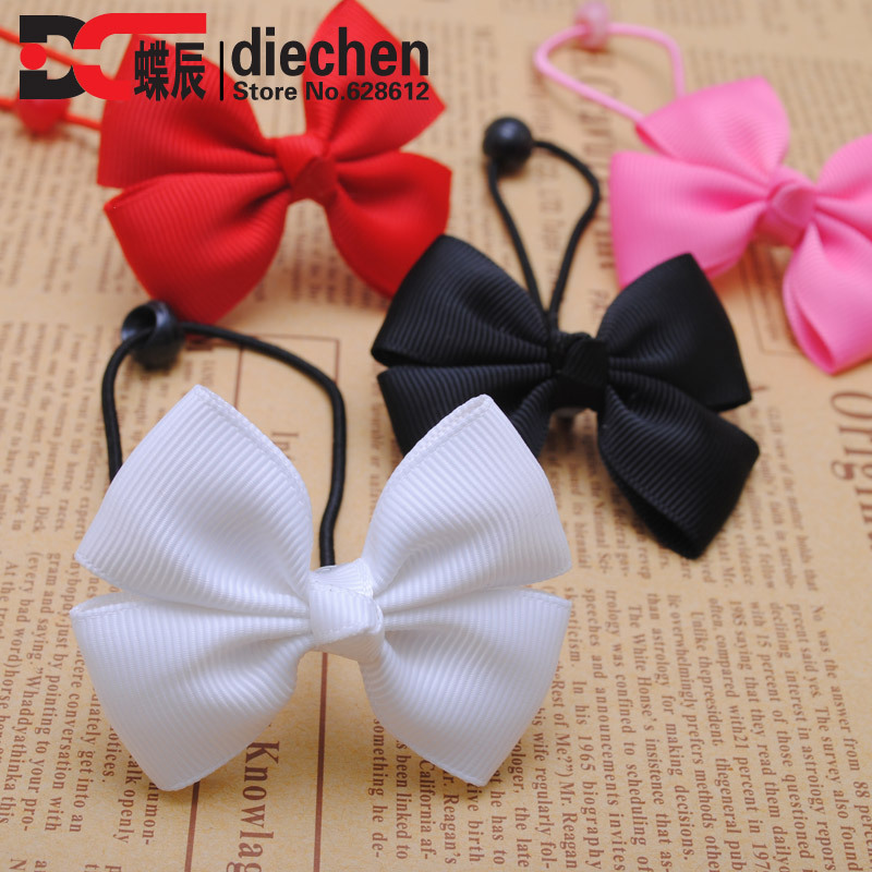 2pcslot assorted colors solid grosgrain bows toddler baby girls rubber bands hair elastics hair ties accessories for children