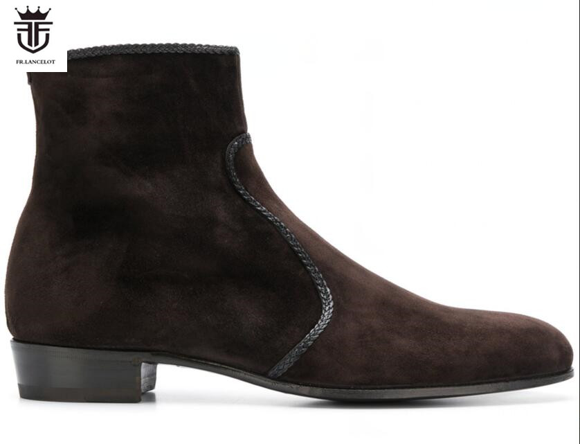 FR.LANCELOT 2019 New fashion embroidery men booties zip up Chelsea Boots Ankle Boots Men party shoes low top brown color bootiesFR.LANCELOT 2019 New fashion embroidery men booties zip up Chelsea Boots Ankle Boots Men party shoes low top brown color booties