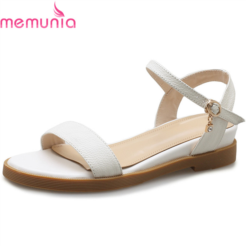 MEMUNIA 2018 fashion summer new arrival shoes woman buckle low heels sandals casual comfortable women genuine leather shoes memunia 2018 new arrive women summer sandals sweet bowknot casual shoes simple buckle comfortable square heele shoes woman