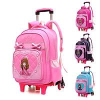 Children Trolley School Bag Wheeled School Bag Grils Kids cartoon printing School trolley Backpacks Bags Travel Luggage Backpack