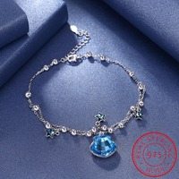 Trendy 925 Sterling Silver Bracelets Blue Crystal Zircon Star and Shell Charms Bracelets Beads Chain Multi layer Jewelry