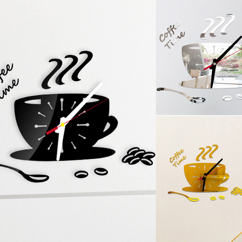 Modern wall sticker Coffee Shape Removable Diy Acrylic 3D Mirror Wall Sticker for home decor room art wall decal gift 2019 New