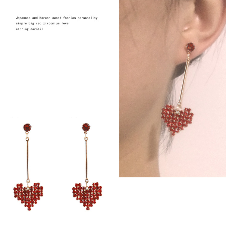 Hot Style Japan and South Korea Sweet Personality Contracted Red Zircon Heart Earring