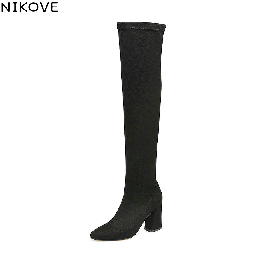 NIKOVE 2018 Pointed Toe Women Boots Stretch Fabric Over The Knee Boots Pointed Toe Short Plush Ladies Winter Boots Size 34-43