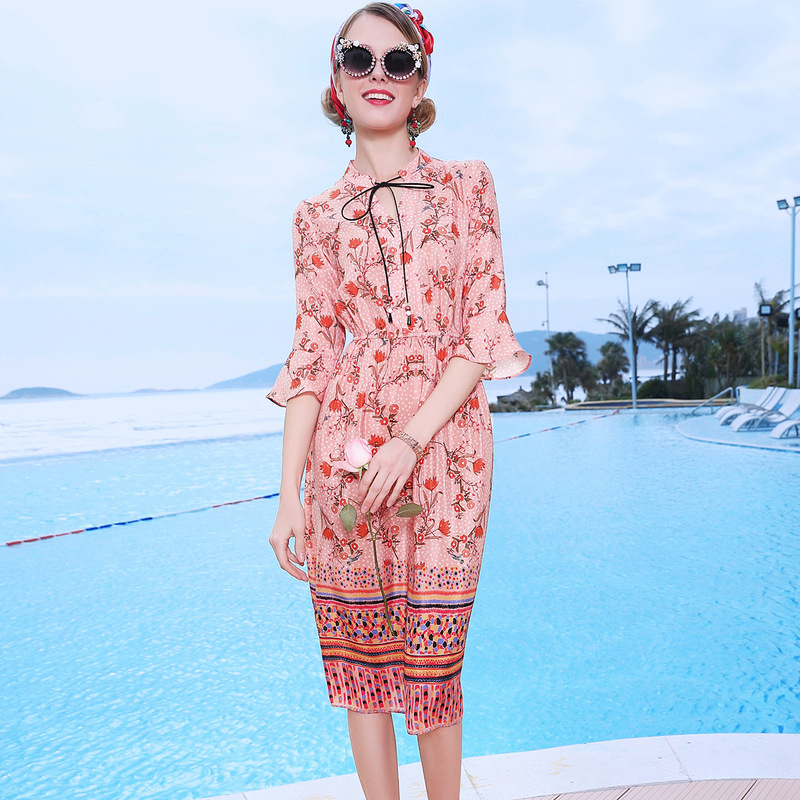 Party Beach Taille Kleid neue Ausschnitt b 2019 V Pink 100Seide Sommer elastische hmischen Line Frauen A Flarermel Print ALRj54