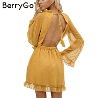 BerryGo Elegant Lace Up Backless Mesh Dress Women Fashion Stringy Selvedge Sash Mini Dress Long Flare