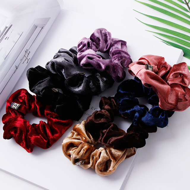 1PC Women Elegant Velvet Solid Elastic Hair Bands Ponytail Holder Scrunchies Tie Hair Rubber Band Headband Lady Hair Accessories 2