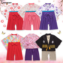 8e439d95c4e35e Baby Girl Pajacyki japońskie kimono Styl Wnioskach Duży Łuk Kwiat  Wydrukowano Jesień Wiosna Z Długim Rękawem