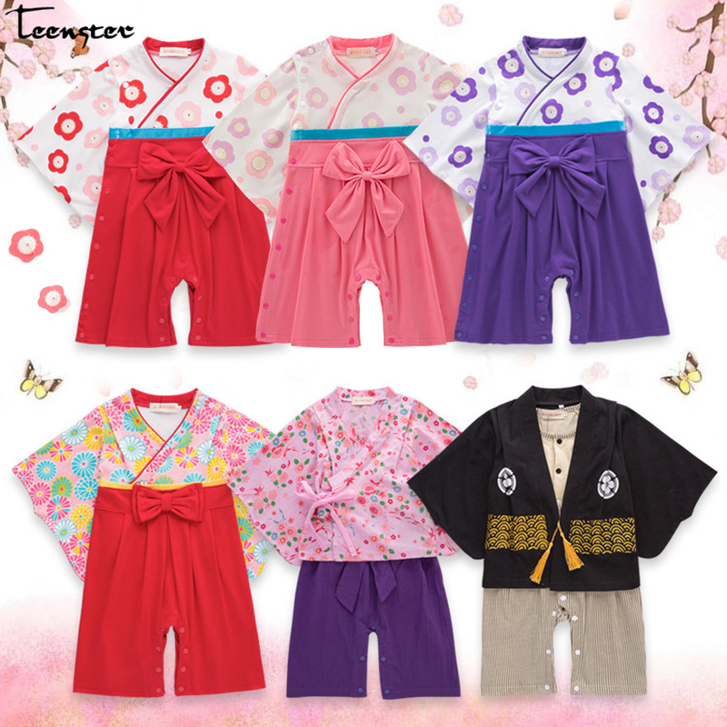 Baby Girl   Rompers   Japanese Kimono Style Wiht Big Bow Flower Printed Autumn Spring Long Sleeve Clothes Newborn Infant Boy Costume