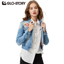 GLO-STORY 2017 Vintage Slim Denim Jacket Flower Pattern Embroidery Long Sleeves Jeans Jacket Women WNK-4122