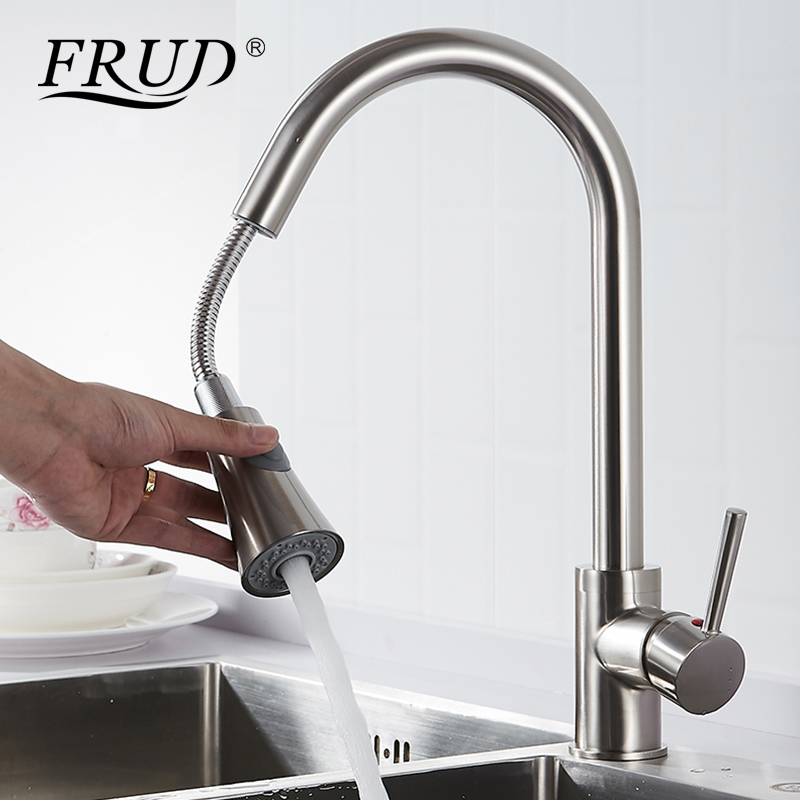 Frud Single Handle Kitchen Faucet Mixer Pull Out Hot&cold water Kitchen Tap Single Hole 360 Degree Swivel Sink Mixer Tap Y40081 micoe pull style hot and cold water kitchen faucet mixer single handle single hole modern style chrome tap 360 swivel m hc103