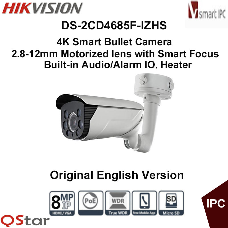 Hikvision Original English Version DS-2CD4685F-IZHS 4K Smart Bullet IP Camera Heater Face&Audio detection POE CCTV Camera смартфон bq mobile bq 5057 strike 2 gold matt