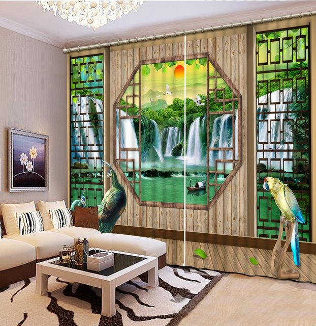 Custom 3d Stereoscopic Luxury Curtains For Living Room Waterfall Peacock  Valance Curtains Kitchen Curtains
