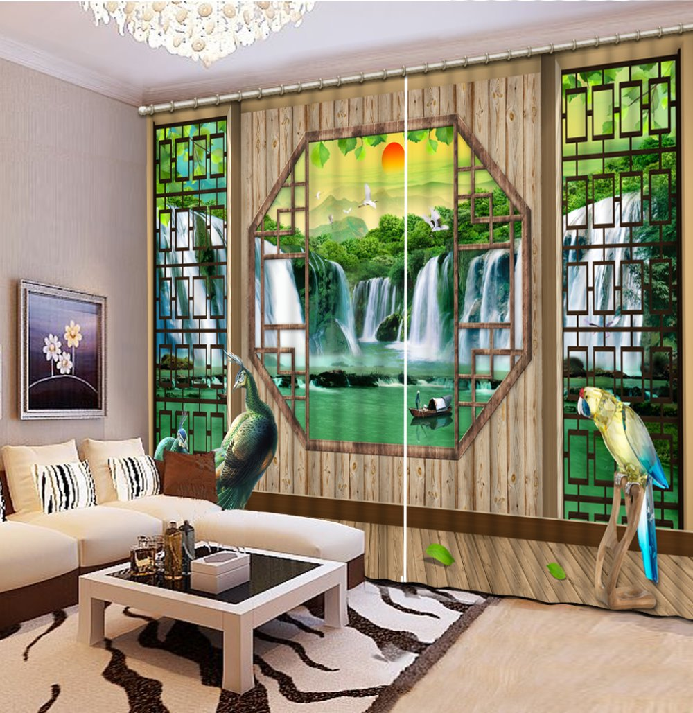 Custom 3d Stereoscopic Luxury Curtains For Living Room Waterfall Peacock Valance Kitchen CurtainsChina