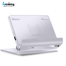 Ascromy Aluminum Metal Fast Wireless Charger Stand For Apple iPhone XS Max XR X S 8 Plus Samsung Galaxy S9 S8 induction Charging