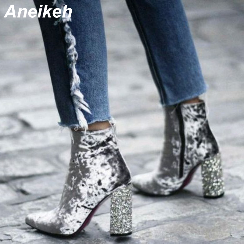 Aneikeh Spring/Autumn Silver Velvet Women Ankle High Booties Pointed Toe Glittering Square High Heels Zipper Short Boots Shoes fashion embroided design spring winter casual women shoes zipper round toe square high heels women ankle booties free shipping