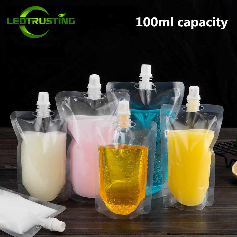 Leotrusting 50pcs 100ml Stand up Plastic Drink Packaging Bag Spout Pouch for Beverage Juice Milk Wedding Party Drinking Pouches