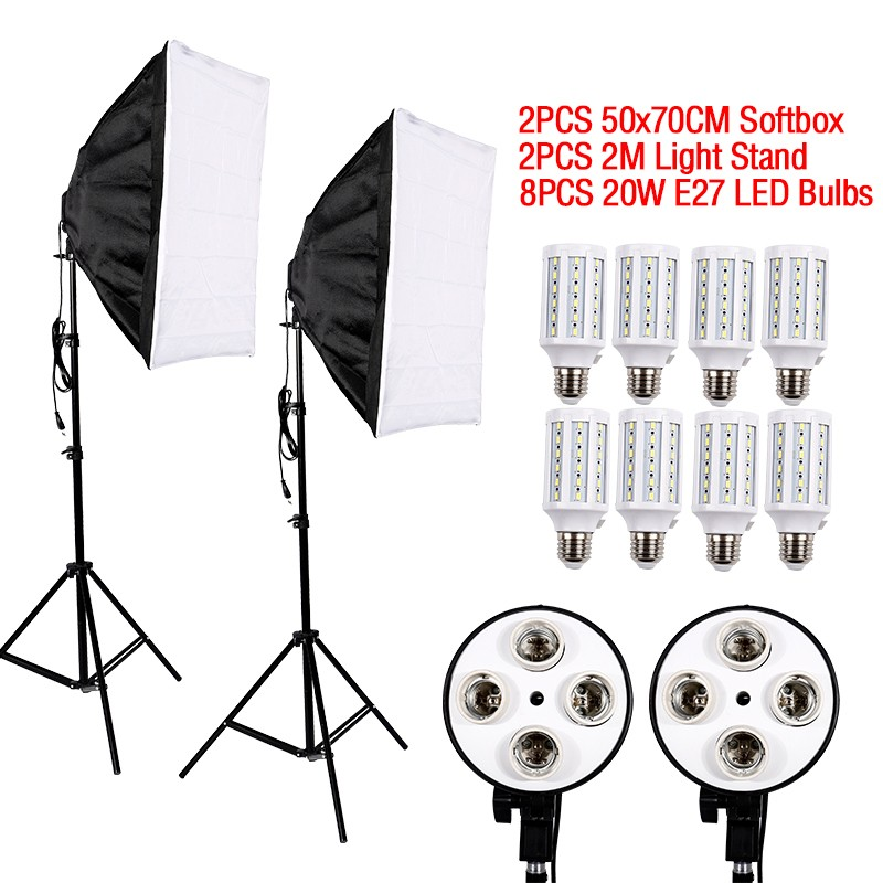 Hot sale 8PCS E27 LED Bulbs Photography Light Kit Photo Equipment+ 2PCS Softbox Light Box+Light Stand For Photo Studio Diffuser