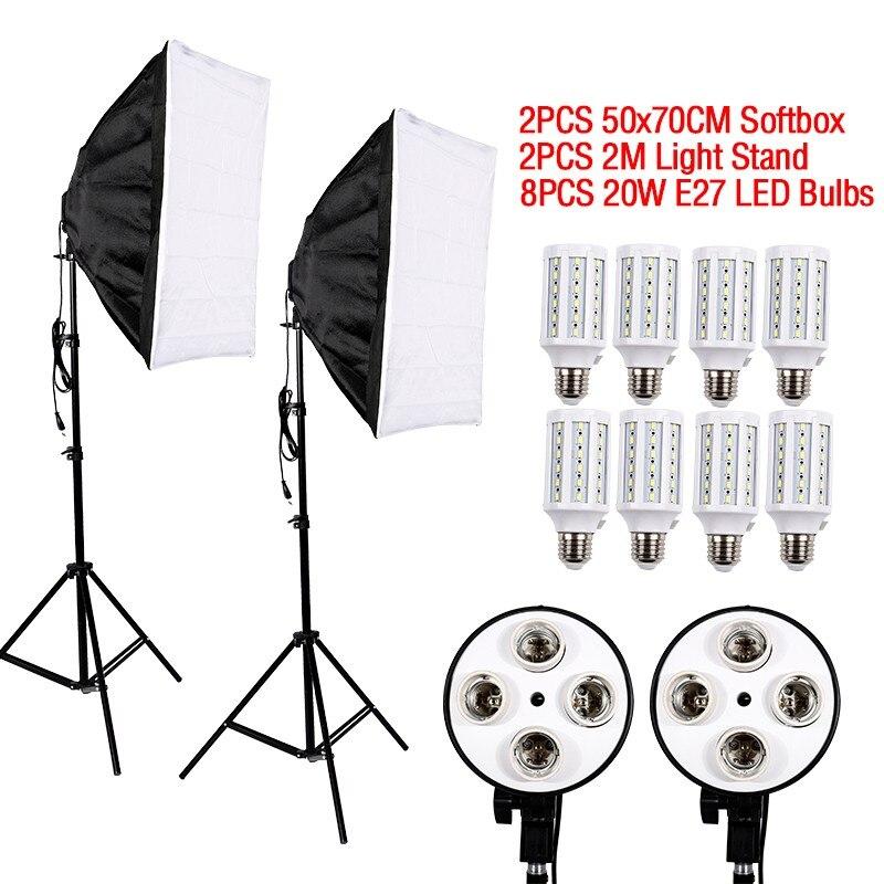 Vente chaude 8 PCS E27 LED Ampoules Photographie La Lumière Kit Matériel Photo + 2 PCS Softbox Boîte à Lumière + Lumière Stand Pour Photo Studio Diffuseur