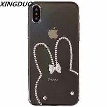 XINGDUO Transparent Rhinestone Case for Samsung S10 Lite S8 S9 S7 Plus Jewelled cute rabbit Diamonds TPU soft case A7 A82018